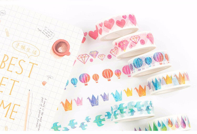 Watercolor Washi Tape (Set of 8)