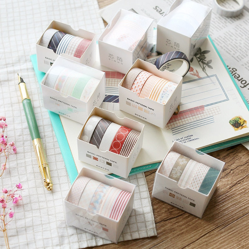 Basic Pattern Washi Tape (Set of 5)