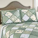 Collections Etc Maya Patchwork Pillow Sham with Ruffled Edge and Light Floral Pattern, Quilted Stitching, Country Charm, Gray, Light Green, Light Blue, Green, Sham
