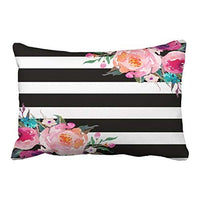 Emvency Decorative Throw Pillow Cover Queen Size 20x30 Inches Trendy Pink Watercolor Floral Black White Stripe Outdoor Pillowcase with Hidden Zipper Decor Cushion Gift for Holiday Sofa Bed