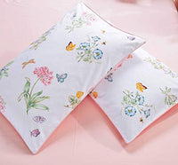 Warm Day Egyptian Cotton Pillow Cover Set-Bee Flower Printing Bedcover Shabby Pillowcase Set 2 Floral Pillowcase Ultra Soft Luxury Shams Set-Queen Size-02