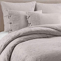 Wamsutta Vintage Linen Floral Embroidery Queen Duvet Cover Set in Fog Natural