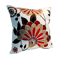 Flower Pure Cotton Embroidered Cushion Cover 18x18 Inch Decorative Throw Pillow Cover Purified Cotton Embroidery Square Floral Cushion Cover for Couch Sofa Bed, 1 Piece Square