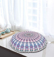 "32"" White Blue Mandala Floor Pillows Cushions Seating Throw Cover Gypsy Hippie Boho Barmeri Colorful Cotton Poufs Cases Ombre Floral Psychedelic Charming Modern Printed Yoga Dorm Peacock Home Decor"