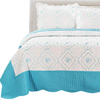 Junsey 2Pcs Standard Pillow Shams Queen Size Floral Embroidery Pillow Cover,White Blue