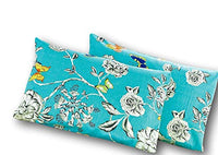 Tache White Floral Colorful Aqua Pillowcase - Butterfly Wonderland - Cotton Luxurious Decorative 20x30 Standard/Queen Pillow Case - 2 Piece Set