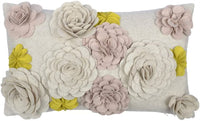 King Rose Handmade 3D Stereo Floral Decorative Accent Throw Pillow Case Wool Cushion Cover for Sofa Bed Living Room 12 x 20 Inches