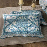 Tache Petal Dance Cotton Floral Blue Quilted Patchwork Pillow Shams, Queen, 20x30