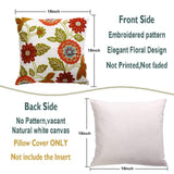 Oneslong Throw Pillow Case Covers - Set of 2-100% Cotton, Decorative Floral Embroidered Design on Solid Natural White Background for Couch, Sofa, Bed - 18 x 18 Inches - Cushion Not Included