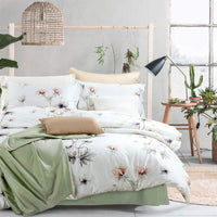 MILDLY Duvet Cover King White, 100% Cotton Soft Lightweight Duvet Cover Set 3 Piece with Pillow Shams Zipper Closure, Reversible Botanical Floral Leaf Printed Pattern Original Design, Iger
