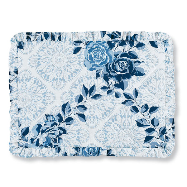 Collections Etc Navy Rose Floral Medallion Printed Ruffle Bed Pillow Sham, Navy Multi, Sham