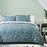 Bedsure Duvet Cover Set with Zipper Closure-Teal/White Printed Branch Pattern Reversible,King(104x90 inches)-3 Pieces (1 Duvet Cover + 2 Pillow Shams)-110 GSM Ultra Soft Hypoallergenic Microfiber