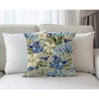 Moslion Floral Pillows Spring Plant Flowers Hydrangea Hibiscus Iris Bird Leaf Throw Pillow Cover Decorative Pillow Case Square Cushion Accent Cotton Linen Home 18x18 Inch Blue Green