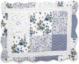 Collections Etc Hadley Floral Patchwork Quilted Pillow Sham, Blue, Sham