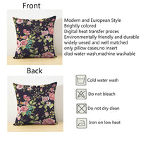 HGOD DESIGNS Rose Pillow Case 18x18 Floral Square Fashion Throw Pillow Case Personalized Lush Flowers and Leaf Cushion Cover Pillowcase Pillow Cover Gift Double Sides Printed