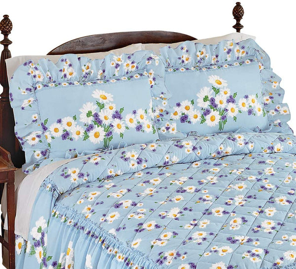 Collections Etc Daisy Bloom Floral Ruffle Pillow Sham, Blue