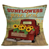 "Fukeen Sunflower Throw Pillow Case Vintage Red Farm Truck with Yellow Floral Decorative Cushion Covers Vintage Wood Background for Rustic Style Farmhouse Garden Decor Cotton Linen Pillow Shams 18""x18"""