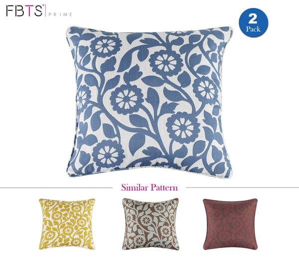 FBTS Prime Throw Pillow Cushion Covers (2-Piece, 18x18 Inches, Blue White) Decorative Jacquard Square Pillow Sham for Couch Bed Sofa