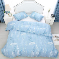 uxcell 100% Cotton Duvet Cover Set with 2 Pillow Shams - Floral Garden Pattern Print Bedding Sets - Zipper Closure (White Floral on Sky Blue, Twin)
