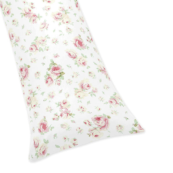 Sweet Jojo Designs Riley's Roses Floral Full Length Double Zippered Body Pillow Case Cover
