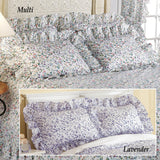 Collections Etc Floral Plisse Ruffled Edge 2 Piece Pillow Sham Set, Lavender, Sham