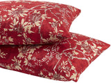 Wake In Cloud - Pack of 2 Pillow Cases, Red Vintage Floral Flowers Pattern Printed Soft Microfiber Pillowcases (King Size, 20x36 Inches)
