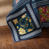 YAYIDAY Patchwork Cotton Bedspread Quilt Sets King Size Bohemian Pattern - Breathable Floral Quilted Blanket Reversible with Pillow Shams, Modern Stitched Coverlet,(Navy King)