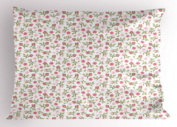 NYWDZ Floral Pillow Sham, Top View and Side View of Rosebuds and Falling Green Leaves on a Plain Background, Decorative Standard Queen Size Printed Pillowcase, 18 X 18 inches, Multicolor