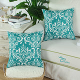 CaliTime Pack of 2 Soft Canvas Throw Pillow Covers Cases for Couch Sofa Home Decoration Vintage Solid Damask Floral 18 X 18 Inches Teal