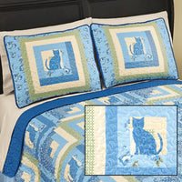 Collections Etc Blue & Yellow Cat Floral Pillow Sham