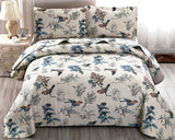"ARL Home 3 Pcs King Size Bedspread Set Floral Bird Quilt Bedding Lightweight Reversible Floral Quilt Set King (96"" X 108"") + 2 King Pillow Shams Super Soft Bedroom Decor Coverlet Set for All Season"