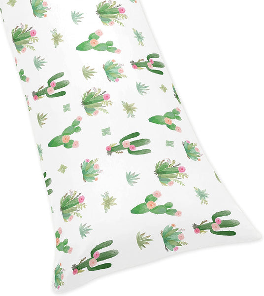 Sweet Jojo Designs Pink and Green Boho Watercolor Body Pillow Case Cover for Cactus Floral Collection (Pillow Not Included)