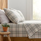 Stone & Beam Rustic Windowpane 100% Cotton Flannel Pillowcase Set, Set of 2, King, Grey and Red