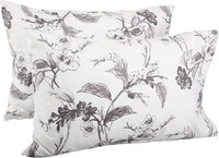 Pinzon Signature 190 Gram Cotton Heavyweight Velvet Flannel Pillowcases, King, Floral Graphite