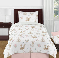 Sweet Jojo Designs Blush Pink, Mint Green and White Boho Standard Pillow Sham for Woodland Deer Floral Collection, Tan