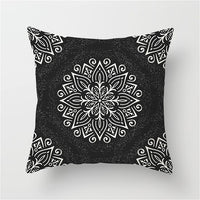 Fuwatacchi Floral Printed Pillow Case Black and White Pattern Cushion Cover for Home Sofa Seat Case Car Pillowcase Decorative