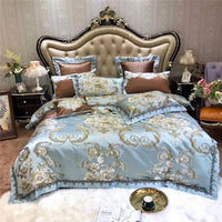 Premium Jacquard Floral Bedding Set Luxury Blue Satin Like Silk and Cotton Duvet cover Flat sheet Bedspread Pillow shams