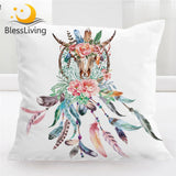 BlessLiving Cow Skull Pillow Cover Buffalo Dreamcatcher Throw Pillowcase Boho Ethnic Square Decorative Pillow Case Cushion Cover
