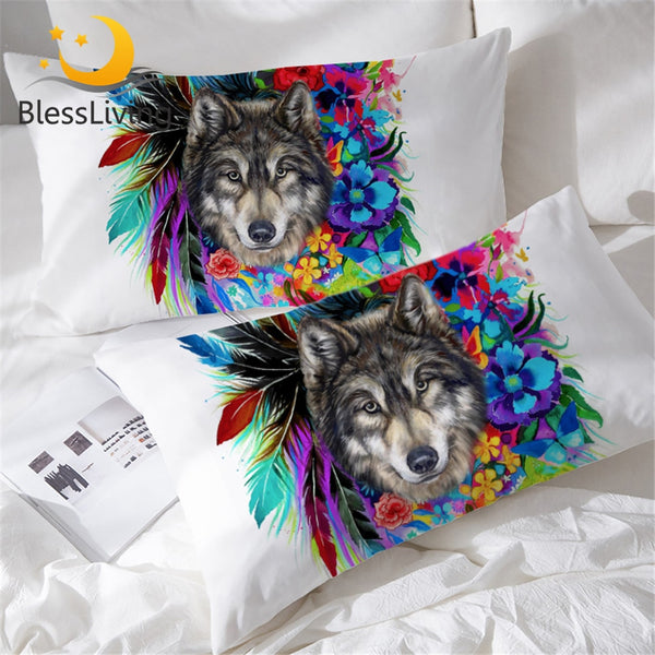 BlessLiving Boho Wolf Pillow Shams Colorful Flowers Feathers Decorative Pillow Cases Set of 2 Animal Watercolor Pillowcase