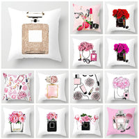 New Printed Flower Pillow Case Cover Square 45cm*45cm Polyester Pillowcase Seat Cushion Case Cover Home Sofa Bedroom Decorative