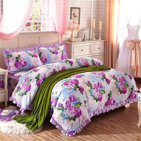 Shabby Chic Floral Duvet Cover Set 100% Cotton Soft Bedding set with Quilted Cotton Bedskirt Pillow shams Queen King size