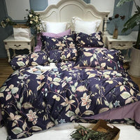 100%Egyptian Cotton UItra Soft Silky Bedding set Queen King size Floral Blossom Printed Duvet cover Bed sheet set Pillow shams