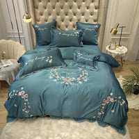 Chic Home Floral Embroidery White Pink Bedding set Satin like Silk Cotton Duvet Cover set Bed sheet/Fitted sheet Pillow shams