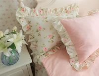 Vintage Pink Floral Ruffled Bedding Duvet Cover Set 100%Cotton Twin Queen King size Girls Bedding set Bedskirt Pillow shams