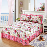 3Pieces Bed sheet Set Floral Blossom printed Vibrant Multi Color Bed Sheet 100%Cotton Soft Flat sheet Pillow shams Queen King