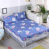 Full Queen King 3Pcs Floral Ruffled Bed Skirt Polyester Ultra Soft Bedskirt Flowers printed Bedsheet set Pillow shams