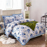 Shabby Chic Floral Duvet Cover Set Luxury Vintage Soft 100%Cotton Bedding set Quilted Bedskirt Pillow shams Queen King size