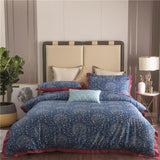 Shabby Vinatge Birds Leaves Floral Navy Blue Duvet Cover Set King Queen size Egyptian Cotton Bedding Set Bed sheet Pillow shams