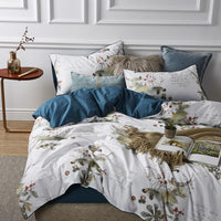 Vintage Floral Bird Duvet Cover Set Shabby Multi Color Silky Egyptian cotton Bedding Set Bed sheet Pillow shams Queen King size