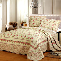100% Cotton Floral print Colorful Bright Quilted Bedspread Coverlet Set Reversible Bedspread Pillow shams 3Pcs Queen size